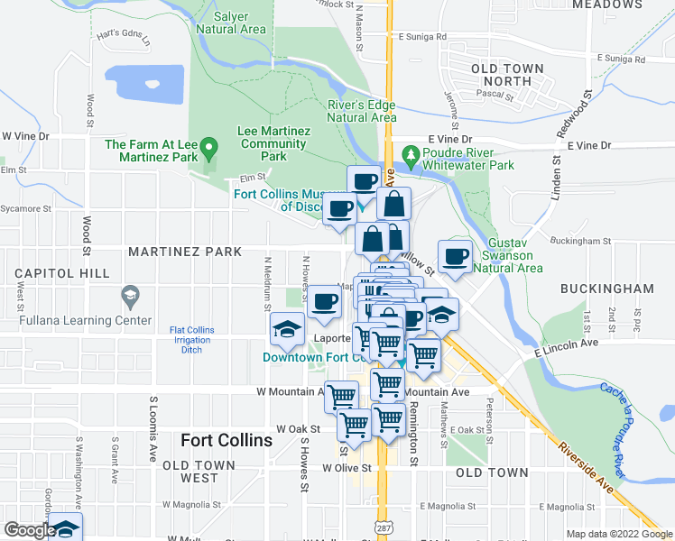 map of restaurants, bars, coffee shops, grocery stores, and more near 311 North Mason Street in Fort Collins