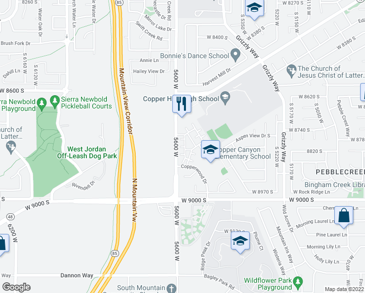 map of restaurants, bars, coffee shops, grocery stores, and more near 5548 Geronimo Way in West Jordan