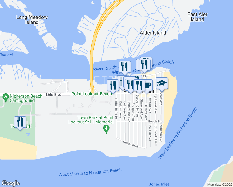 map of restaurants, bars, coffee shops, grocery stores, and more near Lido Blvd & Parkside Ave in Point Lookout