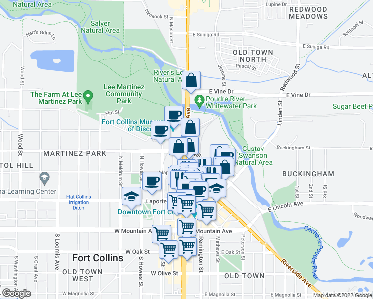 map of restaurants, bars, coffee shops, grocery stores, and more near 400-472 West Highway 14 in Fort Collins