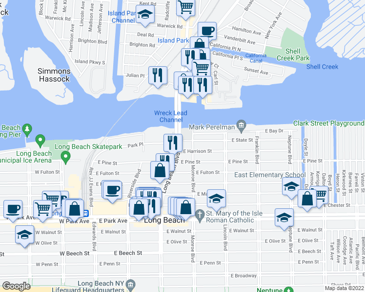 map of restaurants, bars, coffee shops, grocery stores, and more near 780 Long Beach Boulevard in Long Beach