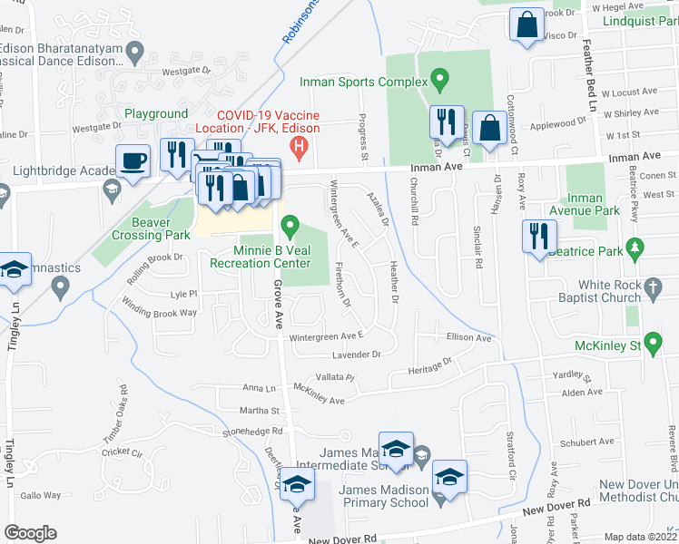 map of restaurants, bars, coffee shops, grocery stores, and more near 15 Firethorn Dr in Edison