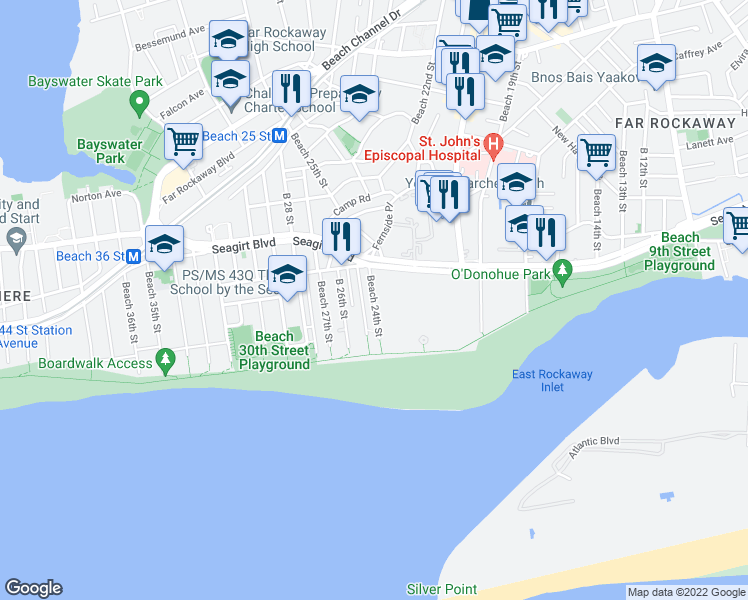 map of restaurants, bars, coffee shops, grocery stores, and more near 146 Beach 24th Street in Queens