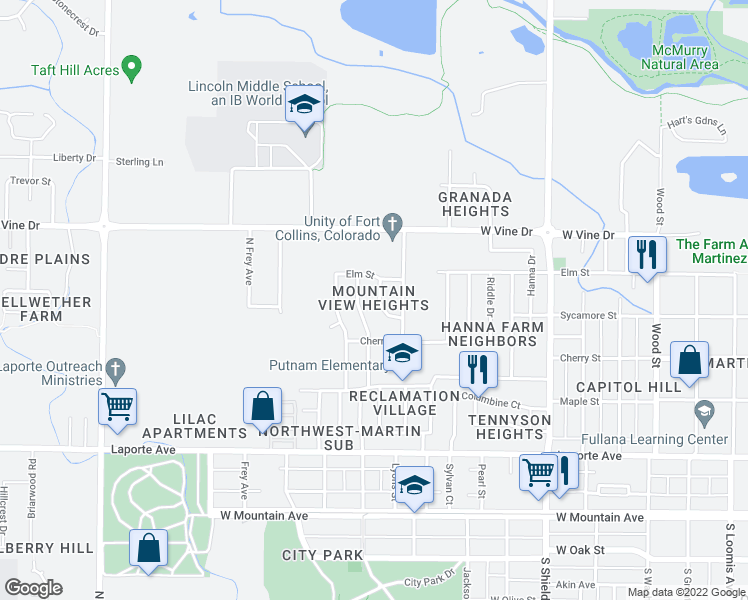 map of restaurants, bars, coffee shops, grocery stores, and more near 1425 Beech Court in Fort Collins