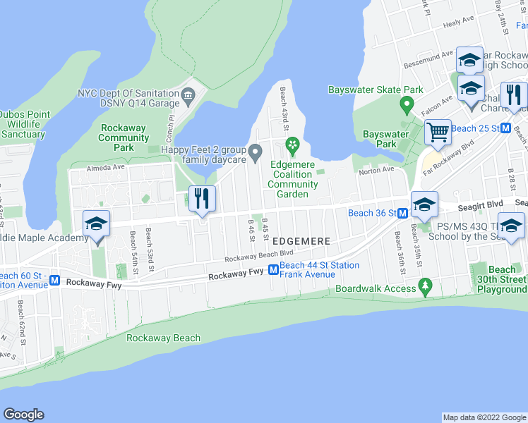 map of restaurants, bars, coffee shops, grocery stores, and more near Beach Channel Dr & Beach 45th St in Queens