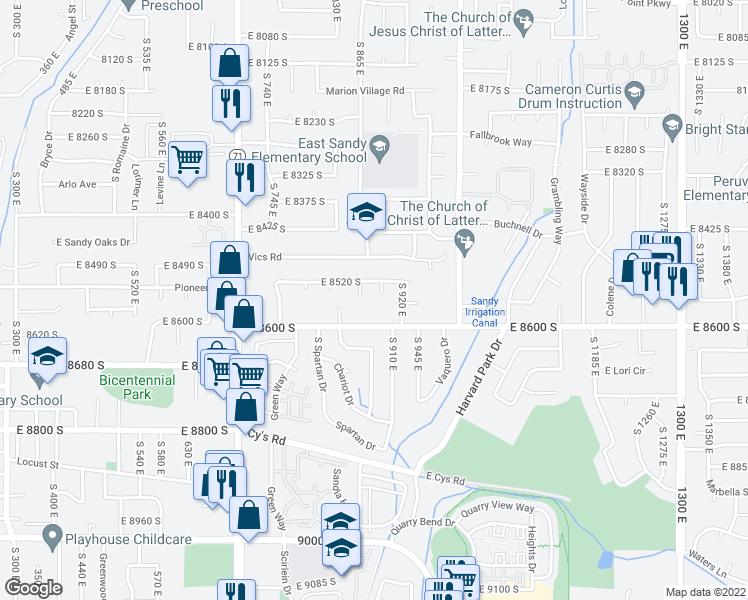 map of restaurants, bars, coffee shops, grocery stores, and more near 8548 Littlewood Circle in Sandy