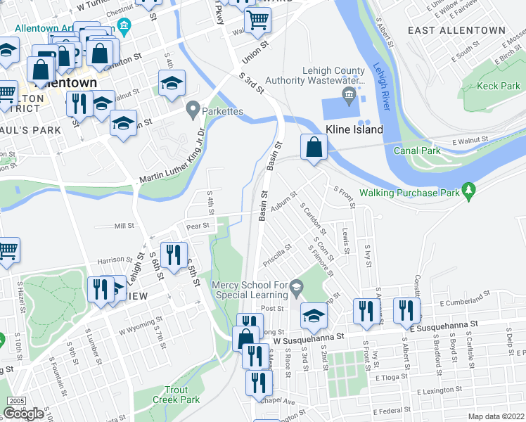 map of restaurants, bars, coffee shops, grocery stores, and more near Basin Street & Auburn Street in Allentown