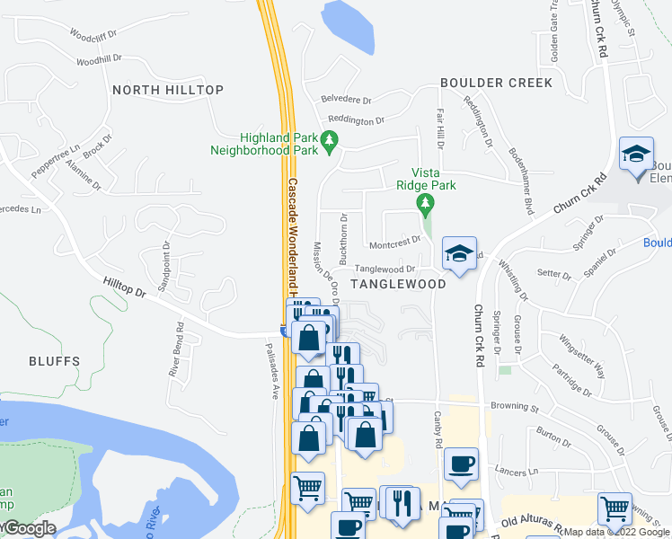 map of restaurants, bars, coffee shops, grocery stores, and more near 695 Mission De Oro Drive in Redding