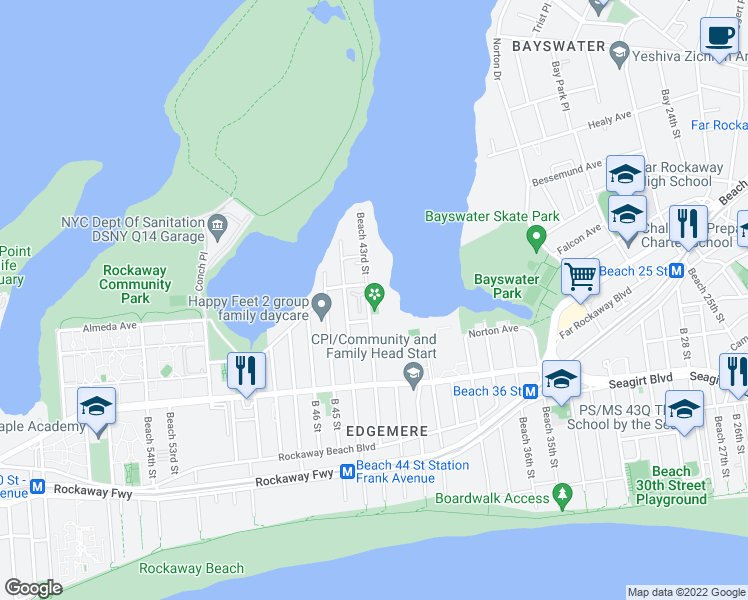 map of restaurants, bars, coffee shops, grocery stores, and more near 498 Beach 43rd Street in Queens