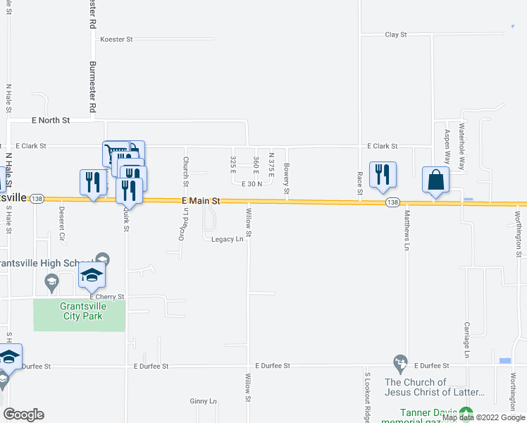 map of restaurants, bars, coffee shops, grocery stores, and more near 366 East Main Street in Grantsville