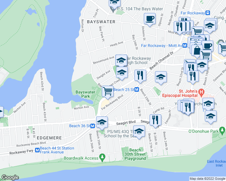 map of restaurants, bars, coffee shops, grocery stores, and more near 2932 Beach Channel Drive in Queens