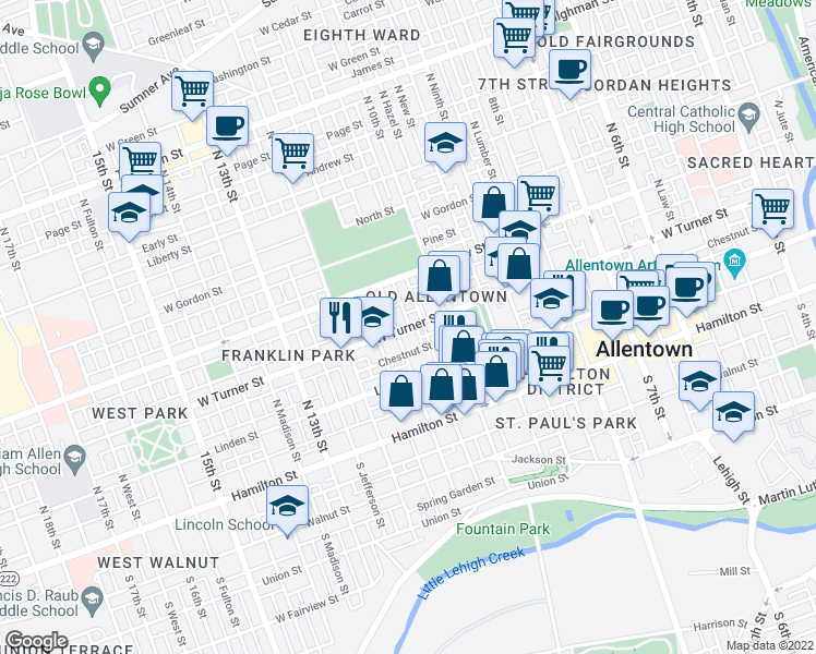 map of restaurants, bars, coffee shops, grocery stores, and more near West Turner Street in Allentown