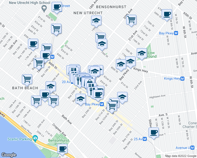 map of restaurants, bars, coffee shops, grocery stores, and more near 21st Ave & 83rd St in Brooklyn