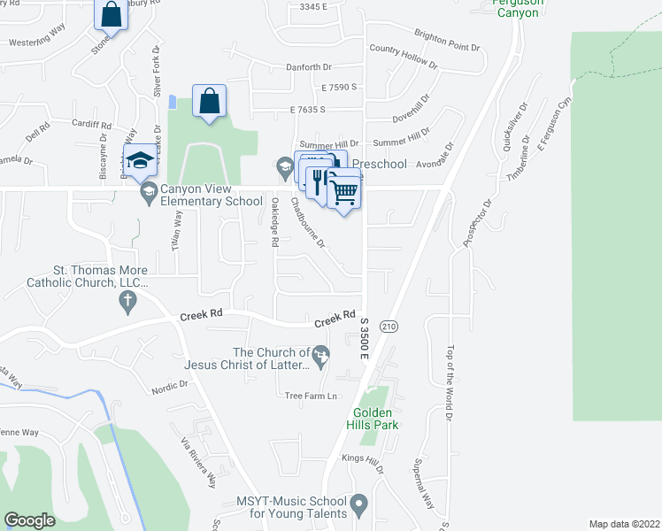 map of restaurants, bars, coffee shops, grocery stores, and more near 7942 Chadbourne Drive in Cottonwood Heights