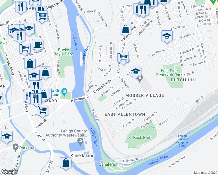 map of restaurants, bars, coffee shops, grocery stores, and more near 225 East Maple Street in Allentown