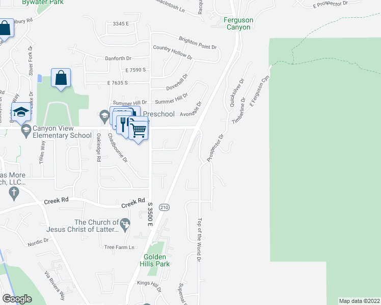 map of restaurants, bars, coffee shops, grocery stores, and more near 13741 Honeywood Hill Lane in Cottonwood Heights
