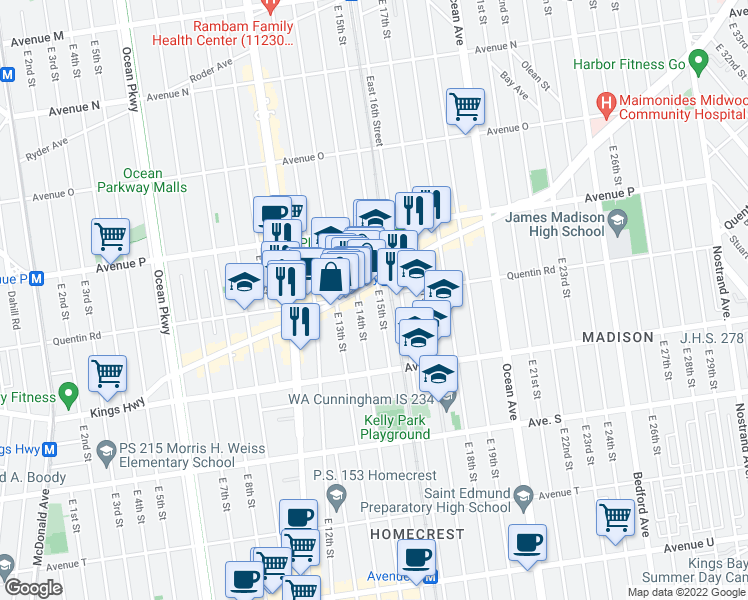 map of restaurants, bars, coffee shops, grocery stores, and more near 1702 East 15th Street in Brooklyn