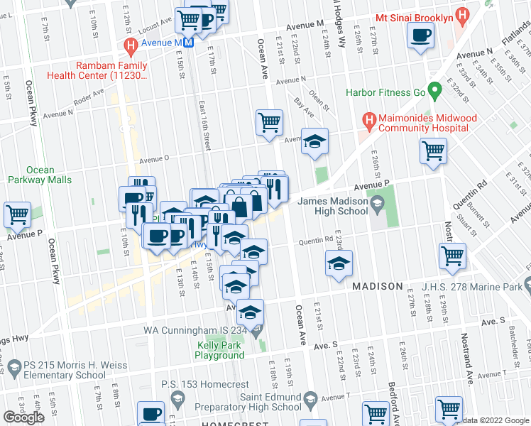 map of restaurants, bars, coffee shops, grocery stores, and more near Kings Highway & East 19th Street in Brooklyn