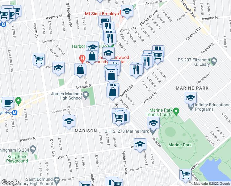 map of restaurants, bars, coffee shops, grocery stores, and more near 2992 Nostrand Avenue in Brooklyn