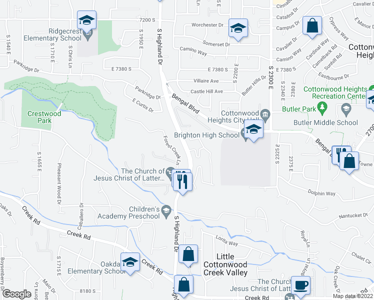 map of restaurants, bars, coffee shops, grocery stores, and more near 7486-7732 East Highland Drive in Cottonwood Heights