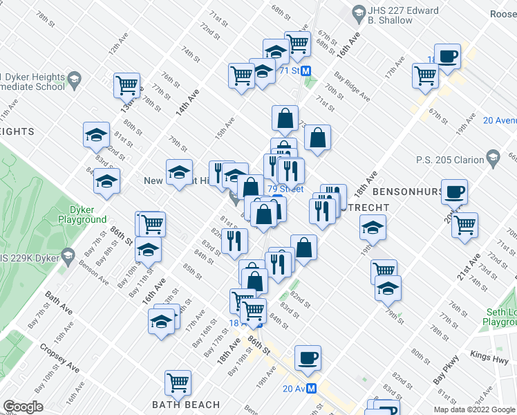 map of restaurants, bars, coffee shops, grocery stores, and more near 1675 79th Street in Brooklyn