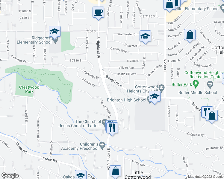 map of restaurants, bars, coffee shops, grocery stores, and more near 7673 South Highland Drive in Cottonwood Heights