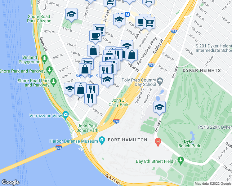 map of restaurants, bars, coffee shops, grocery stores, and more near Verrazano-Narrows Bridge in Brooklyn