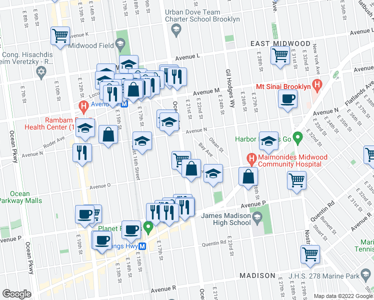 map of restaurants, bars, coffee shops, grocery stores, and more near 1921 Ocean Avenue in Brooklyn