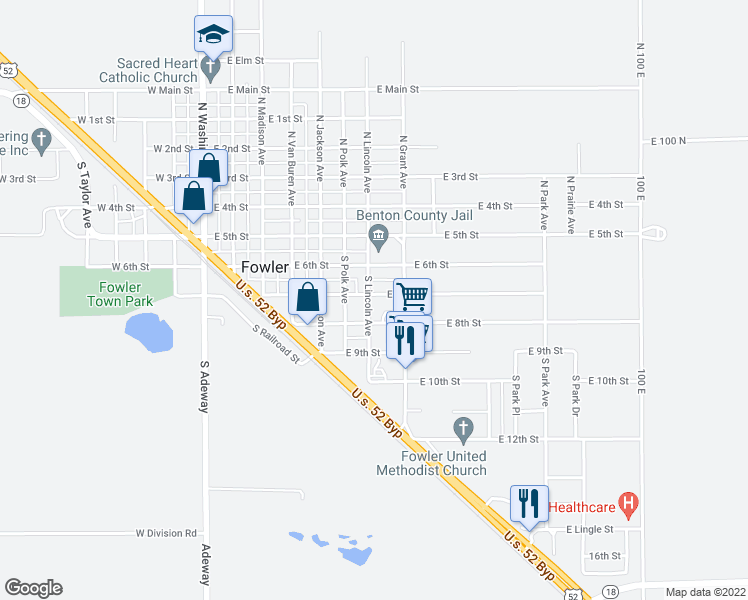 map of restaurants, bars, coffee shops, grocery stores, and more near 700 East 7th Street in Fowler