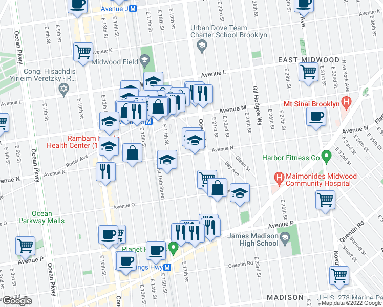 map of restaurants, bars, coffee shops, grocery stores, and more near East 19th Street in Brooklyn