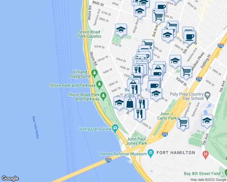 map of restaurants, bars, coffee shops, grocery stores, and more near 120 96th Street in Brooklyn