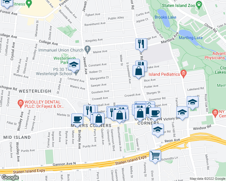 map of restaurants, bars, coffee shops, grocery stores, and more near 48 Sawyer Avenue in Staten Island