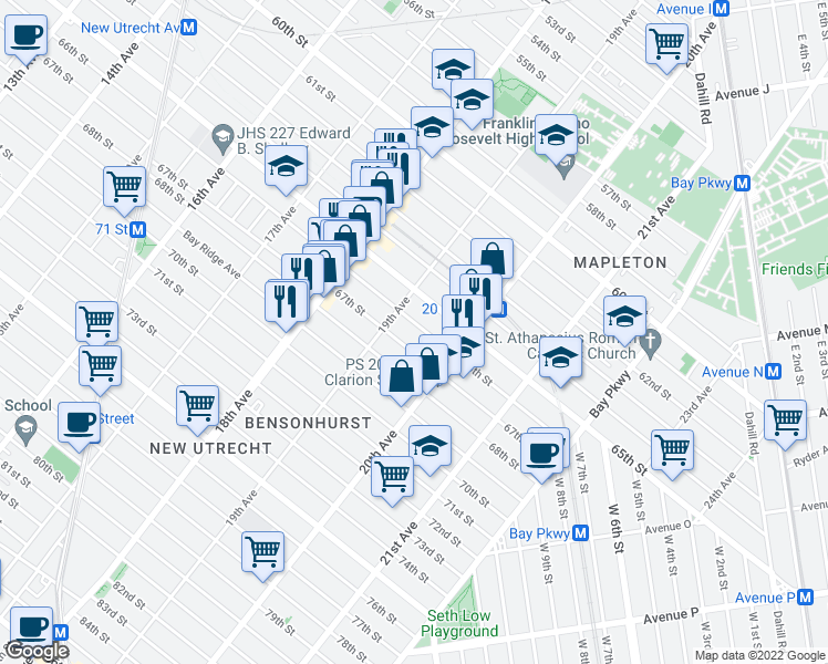 map of restaurants, bars, coffee shops, grocery stores, and more near 1930 66th Street in Brooklyn