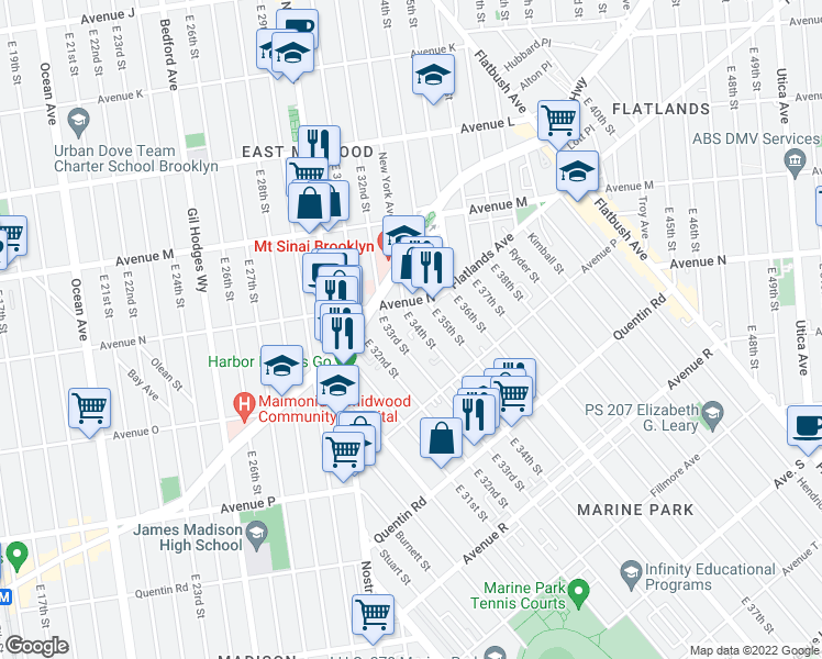map of restaurants, bars, coffee shops, grocery stores, and more near 1556 East 34th Street in Brooklyn