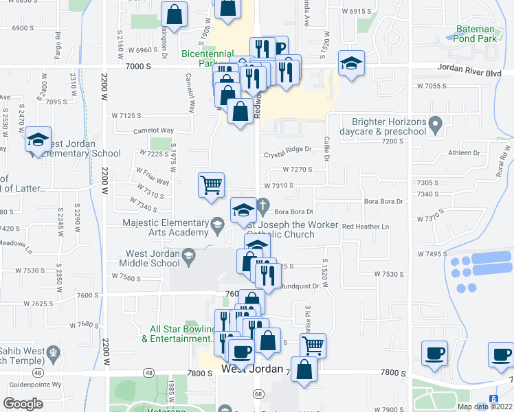 map of restaurants, bars, coffee shops, grocery stores, and more near 7390 1700 West in West Jordan