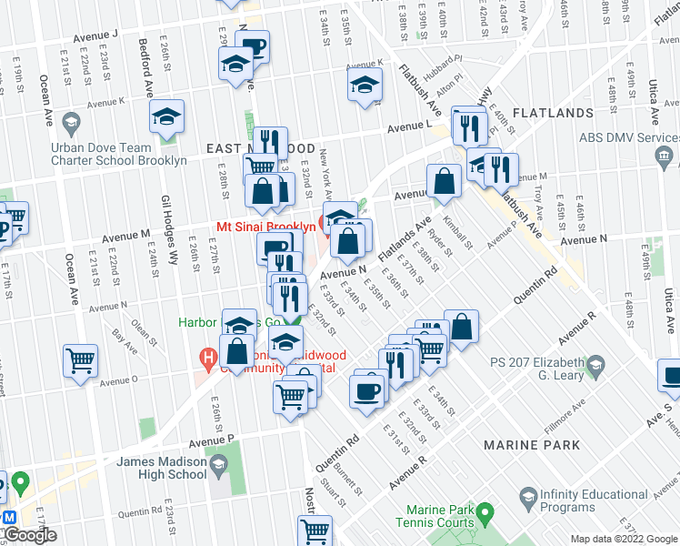 map of restaurants, bars, coffee shops, grocery stores, and more near 4134 New York Avenue in Brooklyn