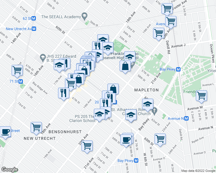 map of restaurants, bars, coffee shops, grocery stores, and more near 1924 62nd Street in Brooklyn