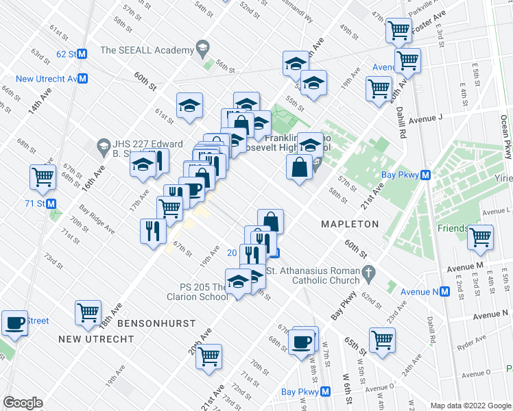 map of restaurants, bars, coffee shops, grocery stores, and more near 6108 19th Avenue in Brooklyn