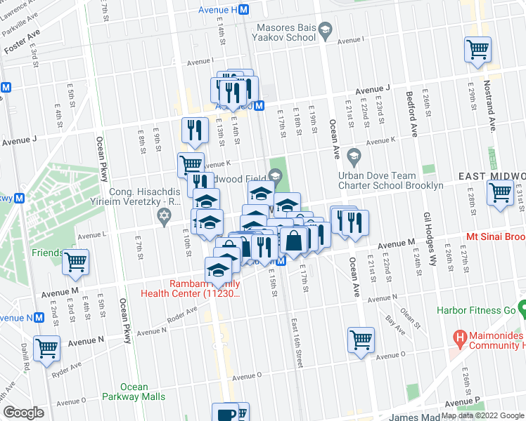 map of restaurants, bars, coffee shops, grocery stores, and more near East 15th Street in Brooklyn