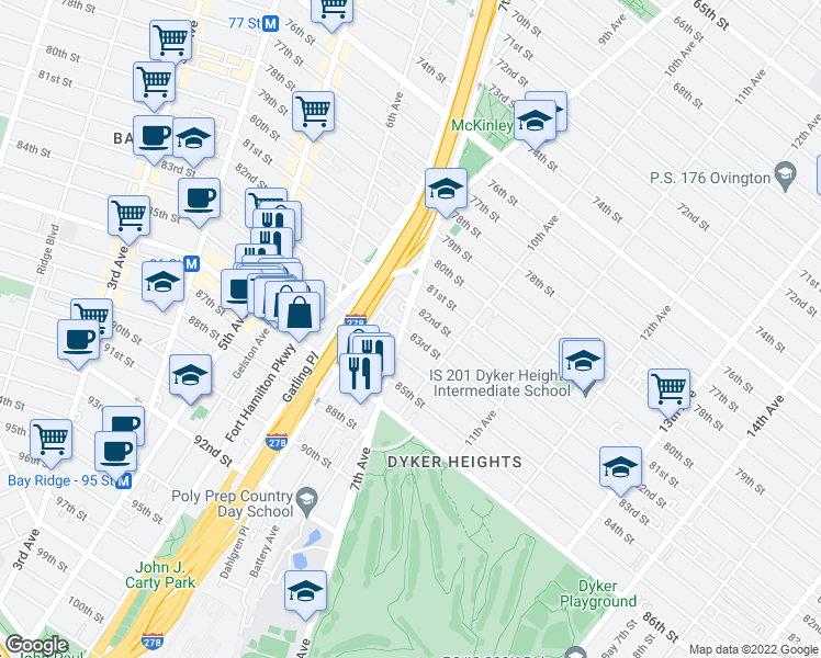 map of restaurants, bars, coffee shops, grocery stores, and more near 8225 7th Avenue in Brooklyn