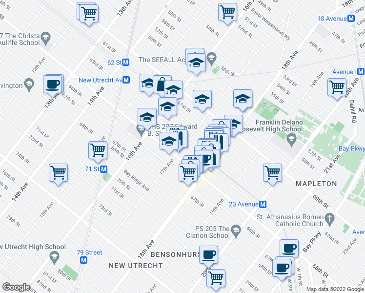 map of restaurants, bars, coffee shops, grocery stores, and more near 64th St & 17th Ave in Brooklyn