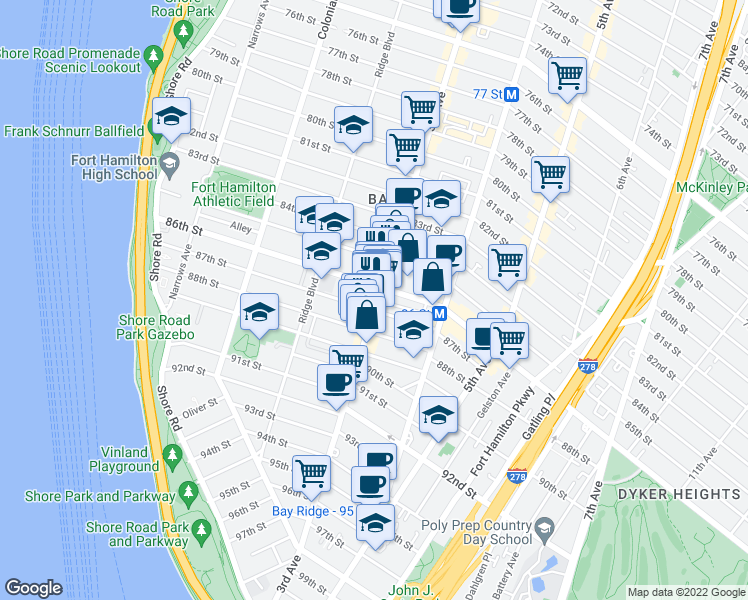 map of restaurants, bars, coffee shops, grocery stores, and more near 8613 3rd Avenue in Brooklyn