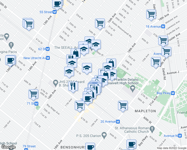 map of restaurants, bars, coffee shops, grocery stores, and more near 1711 60th Street in Brooklyn