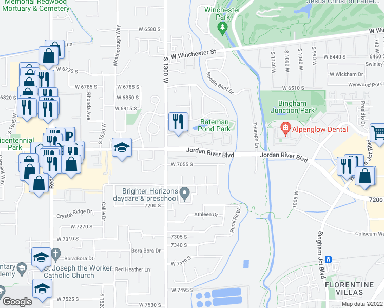 map of restaurants, bars, coffee shops, grocery stores, and more near 1300 West 7000 South in West Jordan