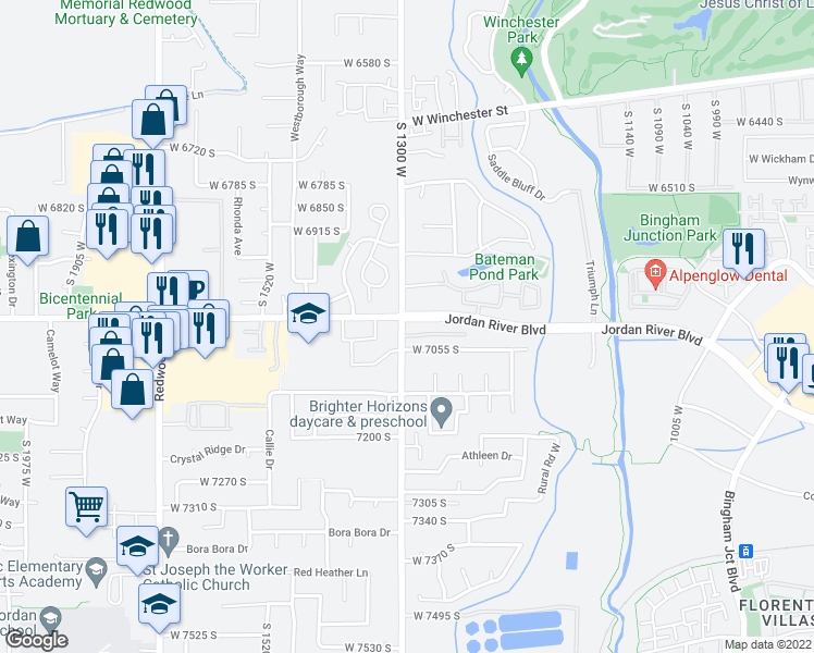 map of restaurants, bars, coffee shops, grocery stores, and more near 7011 1300 West in West Jordan