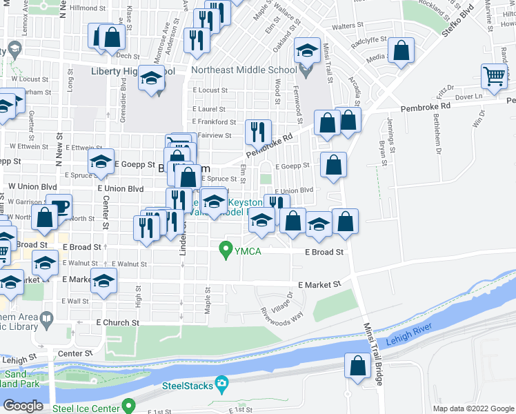 map of restaurants, bars, coffee shops, grocery stores, and more near Dellwood Street in Bethlehem