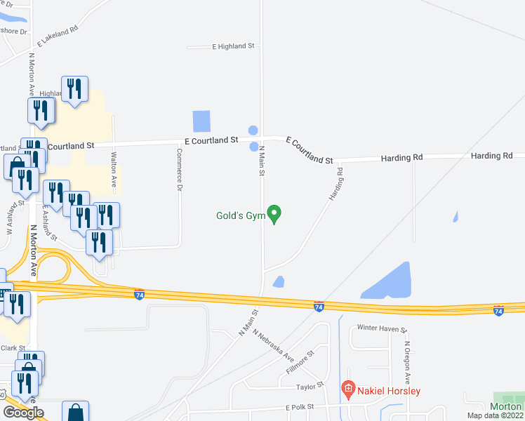 map of restaurants, bars, coffee shops, grocery stores, and more near 1657 North Main Street in Morton