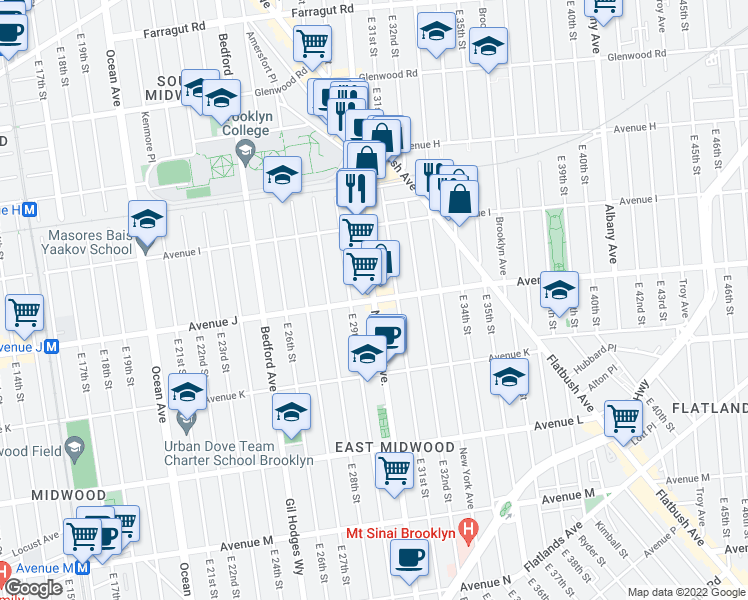 map of restaurants, bars, coffee shops, grocery stores, and more near Nostrand Ave & Avenue J in Brooklyn