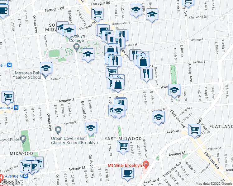 map of restaurants, bars, coffee shops, grocery stores, and more near Nostrand Avenue & Avenue J in Brooklyn