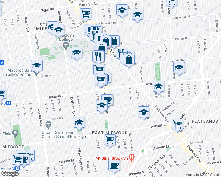 map of restaurants, bars, coffee shops, grocery stores, and more near East 31st Street in Brooklyn